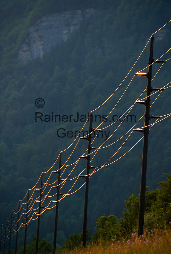 CHE, SCHWEIZ, Kanton Bern, Berner Oberland, bei Brienz: Stromleitungen reflektieren das letzte Tageslicht | CHE, Switzerland, Bern Canton, Bernese Oberland, near Brienz: power supply lines reflecting the last daylight