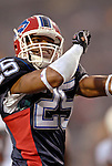 17 December 2006: Buffalo Bills cornerback Kiwaukee Thomas celebrates after a game against the Miami Dolphins at Ralph Wilson Stadium in Orchard Park, New York. The Bills defeated the Dolphins 21-0.. .Mandatory Photo Credit: Ed Wolfstein Photo<br />
