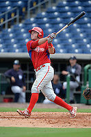 Philadelphia Phillies designated hitter Rhys Hoskins (17) hits a home run during Instructional League game against the New York Yankees on September 23, 2014 at the Bright House Field in Clearwater, Florida.  (Mike Janes/Four Seam Images)