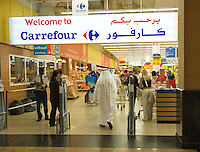 Dubai.  Entrance to Carrefour supermarket in the Mall of the Emirates..