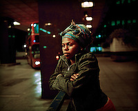 "20 year old Thania, from DR Congo, at London's Euston Station where she spent a year sleeping rough. She arrived in the UK in September 2004 claiming asylum after her family were murdered by Congolese soldiers. She was forced to watch her brother burned to death after a tyre was set alight around his neck. She was raped but managed to escape. After her claim was refused she walked the streets begging people for food and money, ""I couldn't think properly because I was so hungry."" Thania is one of an estimated 300,000 rejected asylum seekers living in the UK. ."