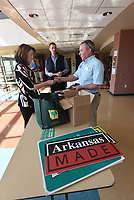 NWA Democrat-Gazette/FLIP PUTTHOFF <br /> CELEBRATION OF AGRICULTURE<br /> Cynthia Edwards, Arkansas deputy secretary of agriculture, and Lynn Thomas (right) exchange information Tuesday March 21 2017 at the third annual National Ag Day Celebration at Northwest Arkansas Community College. Edwards was among several speakers at the event. The program, titled Benton County Agriculture, Producing Food for Life, featured speakers and information about crop and livestock production in the county, as well as conservation. Benton County has 2,157 farms totaling 304,845 acres, according to information at the program.