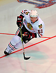 24 January 2009: Chicago Blackhawks defenseman Brian Campbell races the clock during the NHL Faster Skater Event, with a time of 14.90 seconds, in the NHL SuperSkills Competition, part of the All-Star Weekend at the Bell Centre in Montreal, Quebec, Canada. ***** Editorial Sales Only ***** Mandatory Photo Credit: Ed Wolfstein Photo