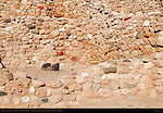 Metate Mealing Stone, Reconstructed Pueblo Walls, Tuzigoot Sinagua Pueblo, Tuzigoot National Monument, Verde Valley, Arizona