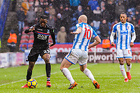 Crystal Palace's defender Aaron Wan-Bissaka (29) takes on Huddersfield Town's forward Aaron Mooy (10) during the EPL - Premier League match between Huddersfield Town and Crystal Palace at the John Smith's Stadium, Huddersfield, England on 17 March 2018. Photo by Stephen Buckley / PRiME Media Images.