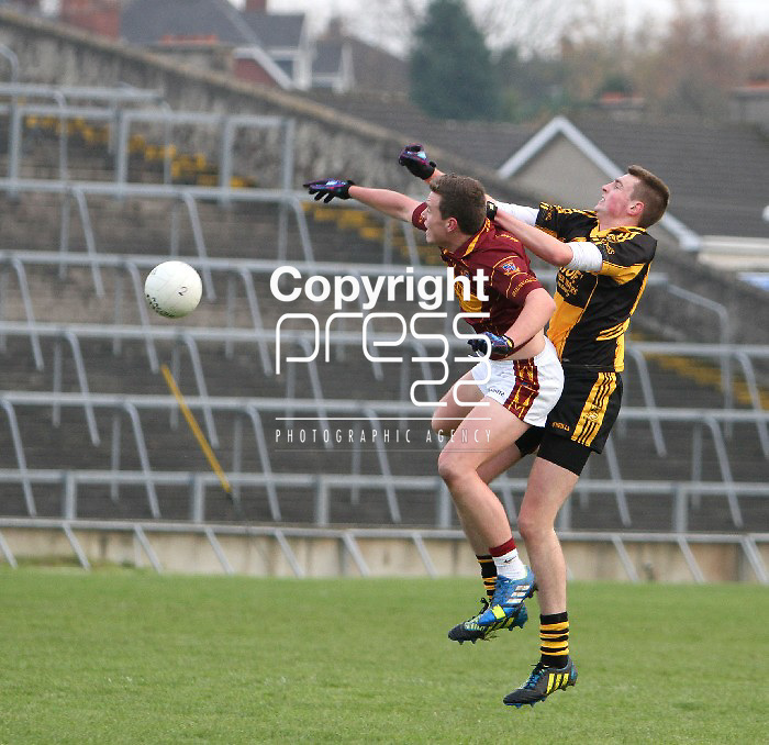 23/11/13 St Joseph's Darragh McDonnagh climbs for the ball with Clyda Rovers Daniel O Callaghan when the two sides met in The Gaelic Grounds for the Munster Intermediate Final on Saturday. Pic Tony Grehan / Press 22