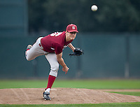 STANFORD, CA - January 28, 2011: Mark Appel of the Stanford baseball team during Stanford's season opening practice at Klein Field at Sunken Diamond.