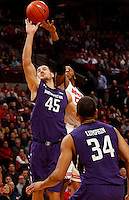 Northwestern Wildcats forward Nikola Cerina (45) guards against Ohio State Buckeyes center Trey McDonald (55) in the first half of their game against the Northwestern Wildcats at the Value City Arena in Columbus, Ohio on February 19, 2014. (Columbus Dispatch photo by Brooke LaValley)