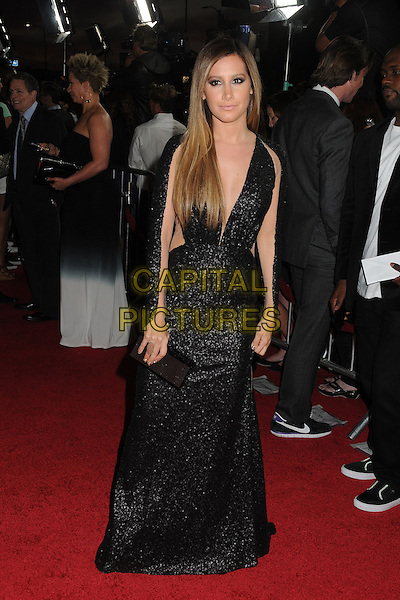 "Ashley Tisdale.Attending the ""Scary Movie 5"" Los Angeles film premiere held at the Cinerama Dome,  Hollywood, California, USA, .11th April 2013..full length dress sleeves cut out sheer see thru through black sequined sequin low cut ombre hair dyed clutch bag sleeves long maxi .CAP/ADM/BP.©Byron Purvis/AdMedia/Capital Pictures"