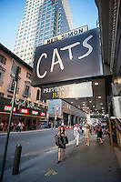 "The marquee of the Neil Simon Theatre proudly displays the logo for the musical ""Cats"" which is having its first American revival, seen on Tuesday, July 26, 2016. Now in previews the Andrew Lloyd Webber musical opens on Sunday, July 31. ""Cats"" was last on Broadway from October 1982 until September 2000. (© Richard B. Levine)"