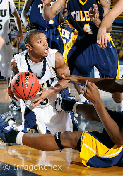 Florida International University men's basketball guard Tremayne Russell (3) plays against the University of Toledo.  FIU won the game 50-46 on November 24, 2008 at Miami, Florida. .