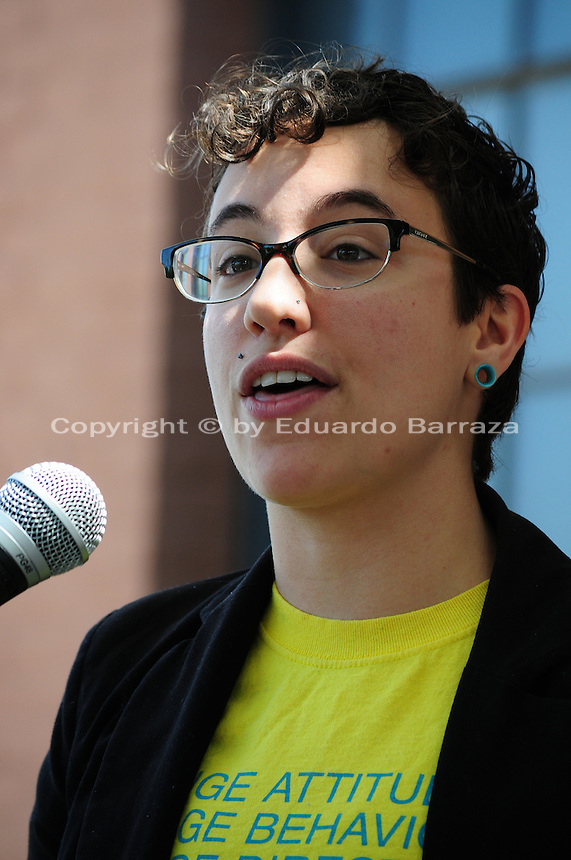 "Phoenix, Arizona (March 29, 2014) - Activist Brianna Pantilione, one of the participants of the ""Arizona's Moral March"", addresses the crowd at the Phoenix Civic Center. Photo by Eduardo Barraza © 2014"