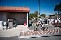 Sam Bennett (IRE/Deceuninck-Quick Step) (ready to fuel up?) at the race start in Le Château-d'Oléron<br /> <br /> Stage 10 from île d'Oléron (Le Château-d'Oléron) to Île de Ré (Saint-Martin-de-Ré)(169km)<br /> <br /> 107th Tour de France 2020 (2.UWT)<br /> (the 'postponed edition' held in september)<br /> <br /> ©kramon
