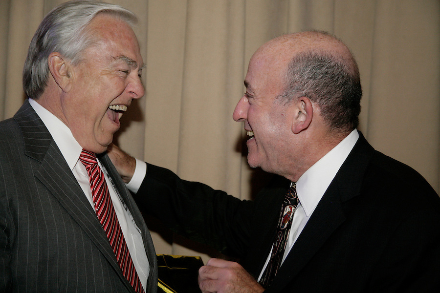 Broadcaster Bill Kurtis and honoree Rick Jasculca at the Publicity Club of Chicago's Golden Trumpet Awards. PCC recognized the region's best strategic communications work done in 2013 at the Golden Trumpet Awards dinner at the Palmer House in downtown Chicago on Wednesday, June 4, 2014   [Photo by Karen Kring]