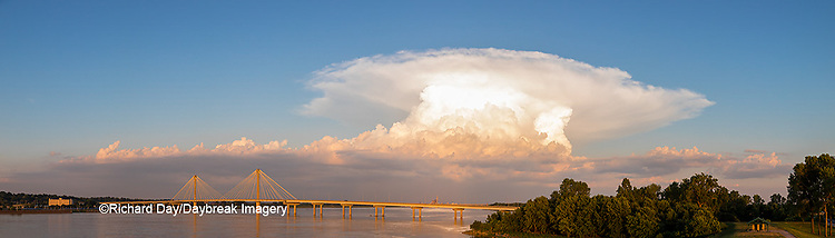 63895-15503 Clark Bridge over Mississippi River and thunderstorm (Cumulonimbus Cloud) Alton, IL