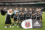 1 November 2007: DC United's starting eleven, plus mascot Talon (left). The Chicago Fire tied DC United 2-2 at RFK Stadium in Washington, DC in the second leg of a first round Major League Soccer playoff match. Chicago advanced on aggregate goals, 3-2.