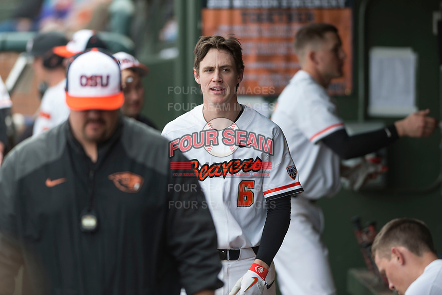 Oregon State Beavers Joe Casey (6) during a game against the New Mexico Lobos on February 15, 2019 at Surprise Stadium in Surprise, Arizona. Oregon State defeated New Mexico 6-5. (Zachary Lucy/Four Seam Images)