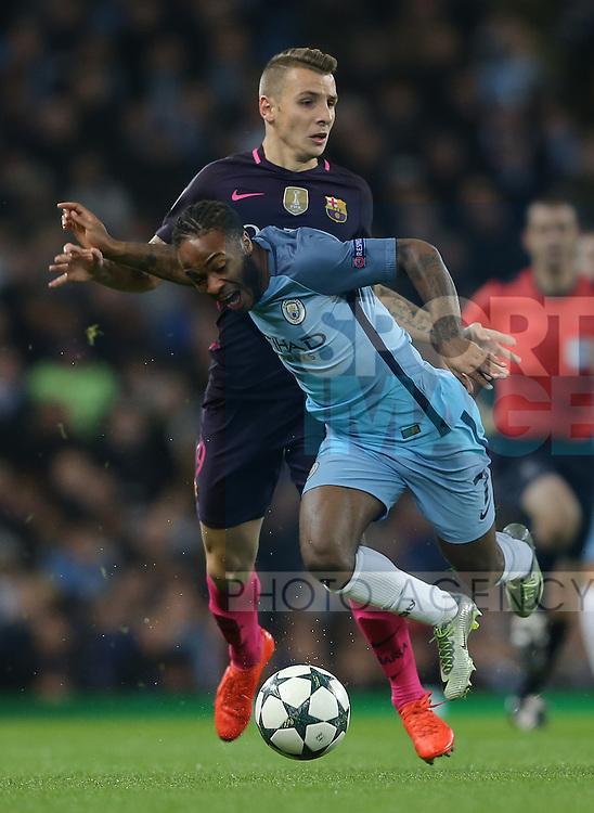 Lucas Digne of Barcelona brings down Raheem Sterling of Manchester City during the Champions League Group C match at the Etihad Stadium, Manchester. Picture date: November 1st, 2016. Pic Simon Bellis/Sportimage