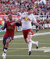 Taylor Graham (26) wins a header from Douglas Sequeira (27) in the New York Red Bulls vs. Real Salt Lake 1-1 tie at Rice Eccles Stadium in Salt Lake City, Utah April 15, 2006