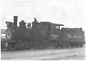 3/4 fireman's-side view of Montezuma Lumber Co. #271 at McPhee with a D&amp;RGW tender.<br /> Montezuma Lumber Co.  McPhee, CO  ca. 1946