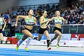 2nd February 2019, Karlsruhe, Germany;  60m U16 Women: Winner Clara Sophie Wagner (left). IAAF Indoor athletics maeeting, Karlsruhe