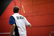 July 05, 2009. Durham, NC..Swiss national team coach, Dennis Christensen, held a badminton clinic at Peak Fitness in Durham to give local players a crash course in international level badminton, with top ranked players performing in exhibition matches.