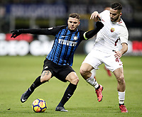 Calcio, Serie A: Inter - Roma, Milano, stadio Giuseppe Meazza (San Siro), 21 gennaio 2018.<br /> Inter's Captain Mauro Icardi (l) in action with Roma's Kostas Manolas (r) during the Italian Serie A football match between Inter Milan and AS Roma at Giuseppe Meazza (San Siro) stadium, January 21, 2018.<br /> UPDATE IMAGES PRESS/Isabella Bonotto