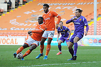 Blackpool's Sullay Kaikai gets the ball caught up in his feet<br /> <br /> Photographer Kevin Barnes/CameraSport<br /> <br /> Emirates FA Cup Second Round - Blackpool v Maidstone United - Sunday 1st December 2019 - Bloomfield Road - Blackpool<br />  <br /> World Copyright © 2019 CameraSport. All rights reserved. 43 Linden Ave. Countesthorpe. Leicester. England. LE8 5PG - Tel: +44 (0) 116 277 4147 - admin@camerasport.com - www.camerasport.com