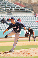 Liberty University Flames pitcher Eric Grabowski (22) on the mound during a game against the University of Virginia Cavaliers  at Joseph P. Riley Ballpark on February 17, 2017 in Charleston, South Carolina. Virginia defeated Liberty 10-2. (Robert Gurganus/Four Seam Images)