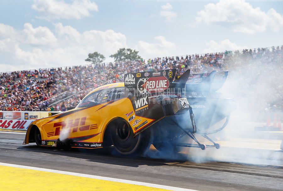 Aug 19, 2017; Brainerd, MN, USA; NHRA funny car driver J.R. Todd during qualifying for the Lucas Oil Nationals at Brainerd International Raceway. Mandatory Credit: Mark J. Rebilas-USA TODAY Sports