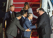 Kim Dong Chul, Kim Hak Song and Tony Kim are greeted by United States Secretary of State Mike Pompeo and US Vice President Mike Pence as US President Donald J. Trump and first lady Melania welcome them back to the US at Joint Base Andrews in Maryland on Thursday, May 10, 2018.  The three men were imprisoned in North Korea for periods ranging from one and two years.  They were released to Secretary Pompeo as a good-will gesture in the lead-up to the talks between President Trump and North Korean leader Kim Jong Un.<br /> Credit: Ron Sachs / CNP
