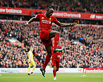 Sadio Mane of Liverpool celebrates scoring the second goal during the Premier League match at Anfield, Liverpool. Picture date: 7th March 2020. Picture credit should read: Darren Staples/Sportimage