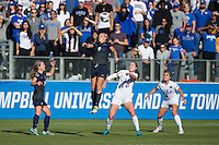Cary, North Carolina - Sunday December 6, 2015: Frannie Crouse (9) of the Penn State Nittany Lions tries to head the ball away from Malinda Allen (22) of the Duke Blue Devils during second half action at the 2015 NCAA Women's College Cup at WakeMed Soccer Park.  The Nittany Lions defeated the Blue Devils 1-0.