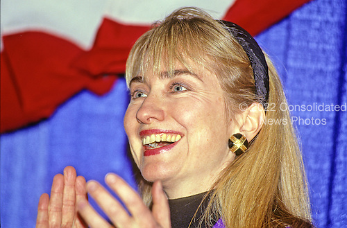 """Hillary Rodham Clinton, wife of Governor Bill Clinton (Democrat of Arkansas) attends a rally for her husband at Hesser Business College in Manchester, New Hampshire on February 17, 1992.  The Clintons were campaigning in advance of New Hampshire's """"First in the Nation"""" presidential primary.<br /> Credit: Ron Sachs / CNP"""