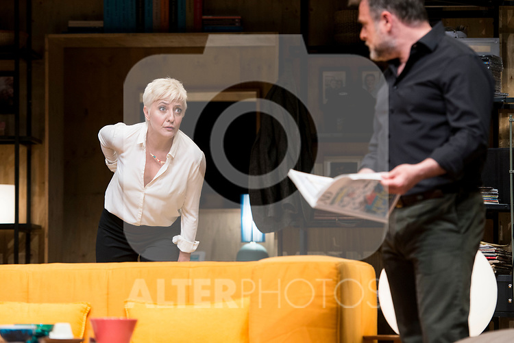 Eva Hache and Xavi Mira during theater play of &quot;Los vecinos de arriba&quot; at Teatro Circulo de Bellas Artes in Madrid, April 25, 2017. Spain.<br /> (ALTERPHOTOS/BorjaB.Hojas)
