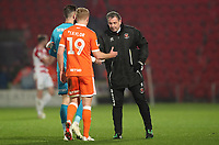 Blackpools' Dave Timmins with Blackpool's Chris Taylor and Blackpool's Mark Howard<br /> <br /> Photographer Rachel Holborn/CameraSport<br /> <br /> The EFL Sky Bet League One - Doncaster Rovers v Blackpool - Tuesday 27th November 2018 - Keepmoat Stadium - Doncaster<br /> <br /> World Copyright &copy; 2018 CameraSport. All rights reserved. 43 Linden Ave. Countesthorpe. Leicester. England. LE8 5PG - Tel: +44 (0) 116 277 4147 - admin@camerasport.com - www.camerasport.com