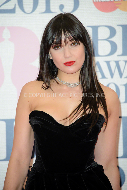 WWW.ACEPIXS.COM<br /> <br /> February 25 2015, London<br /> <br /> Daisy Lowe arriving at the Brit awards 2015 at the O2 Arena on February 25 2015 in London<br /> <br /> By Line: Famous/ACE Pictures<br /> <br /> <br /> ACE Pictures, Inc.<br /> tel: 646 769 0430<br /> Email: info@acepixs.com<br /> www.acepixs.com