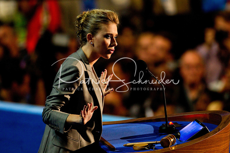 Actress Scarlett Johansson speaks on stage during the final day of the Democratic National Convention at Time Warner Cable Arena.