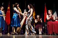 Myriam Blardone from Canada receives the Marlene Harris Prize (seventh prize) during the awards ceremony of the 11th USA International Harp Competition at Indiana University in Bloomington, Indiana on Saturday, July 13, 2019. (Photo by James Brosher)
