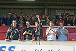 Bangor City 0 FC Honka 1, 23/07/2009. Racecourse Ground, Europa League. The five travelling supporters of FC Honka from Finland greet their team at Wrexham's Racecourse Ground, the venue for their sides Europa League second round second leg tie against Welsh club Bangor City. The match had to be staged away from City's Farrar Road ground as it did not meet UEFA's stadium standards. The Finns won 1-0 in Wales to go through 3-0 on aggregate in front of 602 spectators in the first season of the newly-introduced competition which replaced the UEFA Cup. Photo by Colin McPherson.