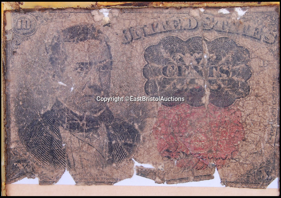 BNPS.co.uk (01202 558833)<br /> Pic: EastBristolAuctions/BNPS<br /> <br /> A bank note apparently recovered from the body of Wild West outlaw Billy the Kid has emerged for sale 136 years after he was shot.<br /> <br /> The note, which is said to be in poor condition, was issued between 1874-1876 - at last five years before Billy the Kid was shot and killed by his former friend Pat Garrett in New Mexico.<br /> <br /> The note was somehow acquired by a British man on his travels to America in the 1980s. It was found in a drawer in his bedroom by his granddaughter during a clear out. <br /> <br /> East Bristol Auctions are now selling it.