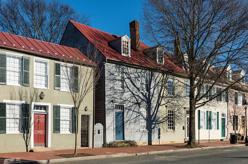 Colorful houses along historic Caroline street in old city Fredericksburg, Virginia, USA