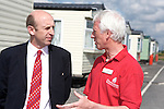 Pix: Shaun Flannery/sf-pictures.com....COPYRIGHT PICTURE>>SHAUN FLANNERY>01302-570814>>07778315553>>..20th May 2008.........Floods Recovery Minister John Healey visits Toll Bar, Doncaster, scene of  the 2007 summer floods. Pictured with Doncaster Council's Neighbourhood Manager Pat Hagan (red shirt).