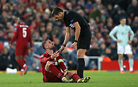 Liverpool's Jordan Henderson remonstrates with Referee Gianluca Rocchi after falling victim to a hard tackle<br /> <br /> Photographer Rich Linley/CameraSport<br /> <br /> UEFA Champions League Round of 16 First Leg - Liverpool and Bayern Munich - Tuesday 19th February 2019 - Anfield - Liverpool<br />  <br /> World Copyright © 2018 CameraSport. All rights reserved. 43 Linden Ave. Countesthorpe. Leicester. England. LE8 5PG - Tel: +44 (0) 116 277 4147 - admin@camerasport.com - www.camerasport.com