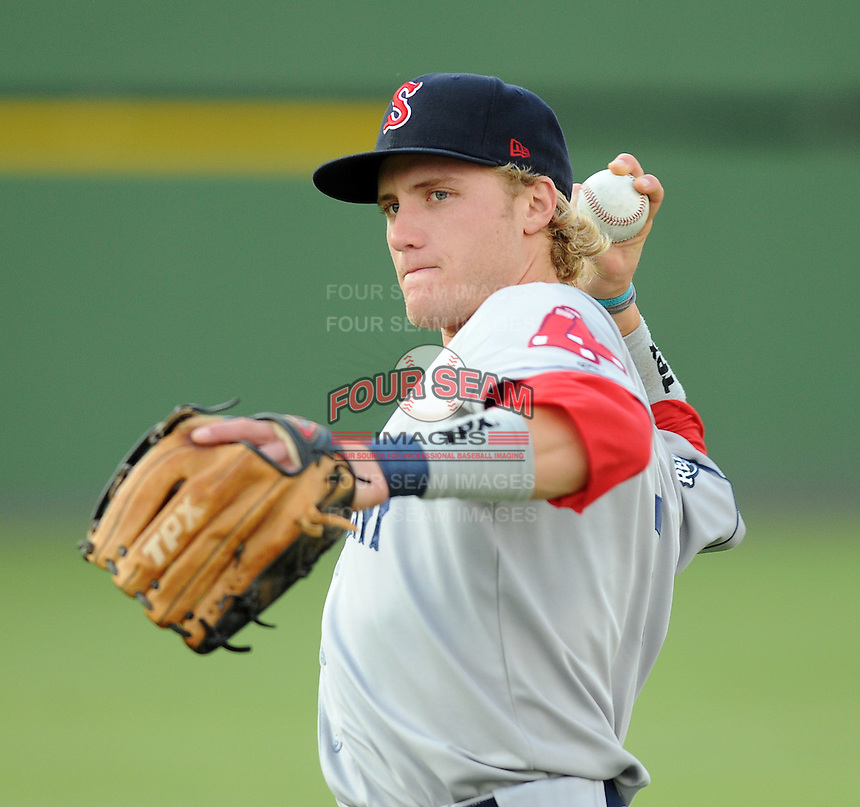 Infielder Kolbrin Vitek (5) of the Salem Red Sox, Carolina League affiliate of the Boston Red Sox, prior to a game against the Potomac Nationals on June 16, 2011, at Pfitzner Stadium in Woodbridge, Va. (Tom Priddy/Four Seam Images)