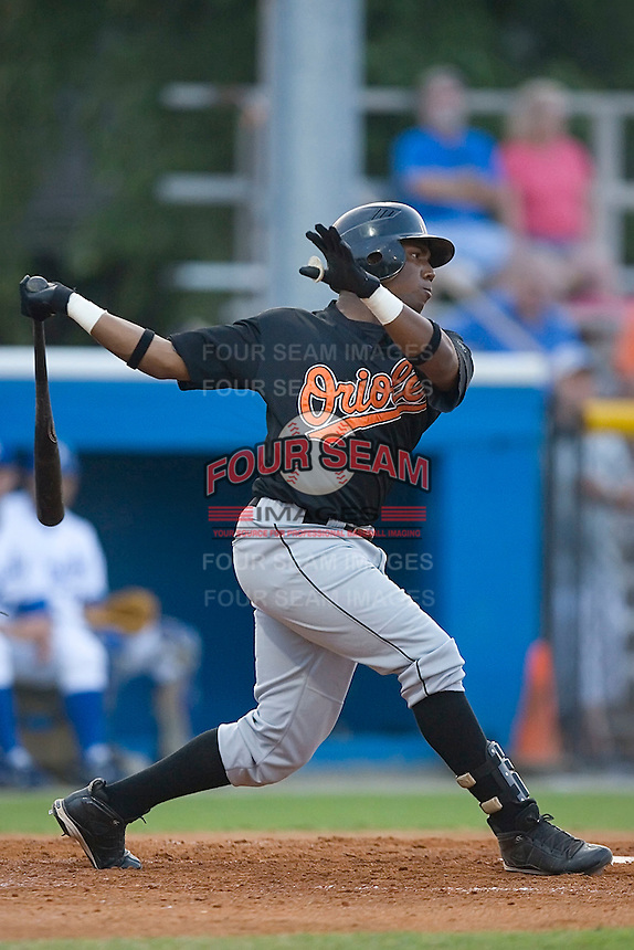 Arthur Bonevacia (25) of the Bluefield Orioles follows through on his swing at Burlington Athletic Park in Burlington, NC, Saturday, July 26, 2008. (Photo by Brian Westerholt / Four Seam Images)