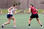 Santa Barbara, CA 02/18/12 - Maggie Burke (Santa Clara #7) and Maddy Kinzley (Arizona #16) in action during the Santa Clara-Arizona game at the 2012 Santa Barbara Shootout.  Santa Clara defeated Arizona 18-9.