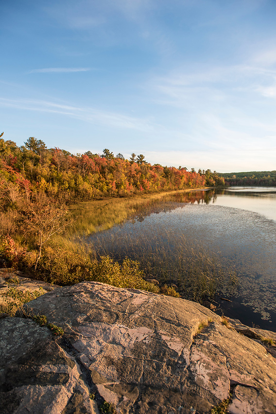 Fall color refections in Harlow Lake near Marquette, Michigan.