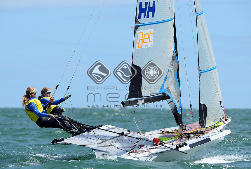 49er FX / Ragna &amp; Maia AGERUP (NOR)<br /> 2013 ISAF Sailing World Cup - Melbourne<br /> Sail Melbourne - The Asia Pacific Regatta<br /> Sandringham Yacht Club, Victoria<br /> December 1st - 8th 2013<br /> &copy; Sport the library / Jeff Crow