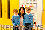 First day at Dromtrasna School for twins Siún & Diarmuid Óg O' Riordan with principal Anne Maria Downes.